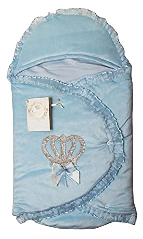 Couche Tot Baby s Padded Wrap Swaddle Sleeping Bag with Bow, Diamonte & Organza Trim Details (Blue)