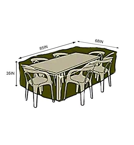 Sunray Abdeckung Schutzhülle Gartenmöbel Groß Dunkelgrün, Abdeckplane für Rechteckige Sitzgarnituren, Gartentische und Möbelsets (85″ x 68″ x 35″) - 2