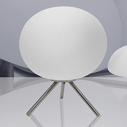 NEG Tischleuchte TripoPalloni (31,0cm Kugel-Durchmesser) Tischlampe aus Opalglas und Edelstahl Große, Runde-tisch-lampe