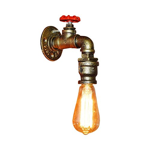 Fuloon Créatif Retro Industrial Applique Lampe de Tube Tuyau Pipe Robinet Finition de Fer (Cuivre)