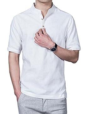 HOEREV Männer lässig Kurzarm Leinen Slim Fit Hemden Beach Shirts