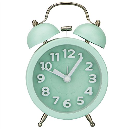 Ho Clock Mini Nicht-Tickende Vintage Klassische Nachttisch Wecker Tisch Mit Hintergrundbeleuchtung Reiseuhren Und Twin Laut Glocke Wecker,Green