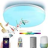 YWY Plafoniera a LED con Altoparlante Bluetooth, Ø40CM Wireless WiFi Smart Ceiling Lamp, 95V-265V, Stand by Alexa Echo & Google Smartphone App dimmerabile, 24W