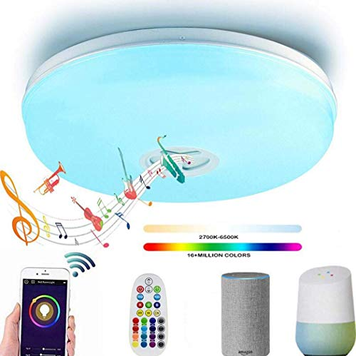YWY Plafoniera a LED con Altoparlante Bluetooth, Ø40CM Wireless WiFi Smart Ceiling Lamp, 95V-265V, Stand by Alexa Echo & Google Smartphone App dimmerabile, 24W