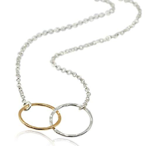 Zwei-Ton-Ewigkeits-Halskette, 925erSterlingsilber und 14Karat Goldgefüllt, 45,7cm