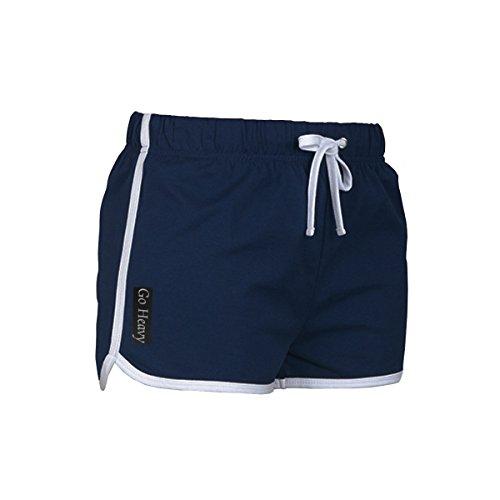 GO HEAVY Damen Retro Fitness Sport Shorts | Yoga Trainings Workout Hot Pants Frauen Sporthose | Blau M