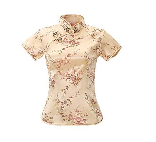 ACVIP Damen Pflaumenblüte Qipao Oberteile Stehkragen Kurzarm Chinesische Bluse Top(China XL/EU 40,Gold)