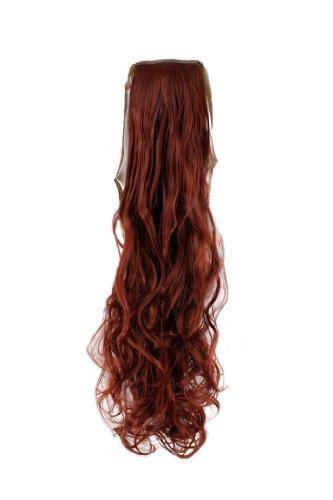 Wig me up ® - toupet coda rosso ondulati 63 cm graffette e fettuccia extension yzf-1094ht-35