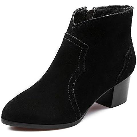 LYF KIU opaca di alta qualità stivali di camoscio mucca sottolineato/ Tacco di spessore con velluto pieno stivali di pelle