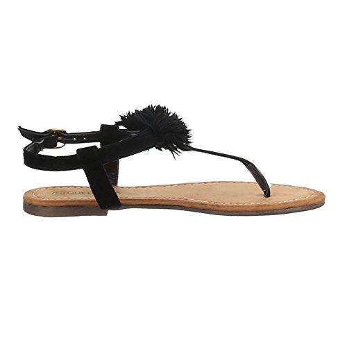 Damen Schuhe, B07L-SF, SANDALEN ZEHENTRENNER Schwarz