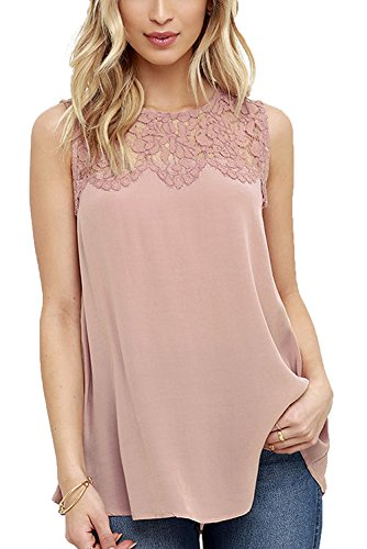 Women Sleeveless Shirt Chiffon Lace Blouse Vest Tops,Loose Blouse Tops T-Shirt ,Lace Shirts Teen Girl