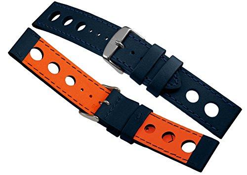 Davis B0324 - Armband Uhr Racing Leder Perforiert Blau 22mm Hochwertige Qualität