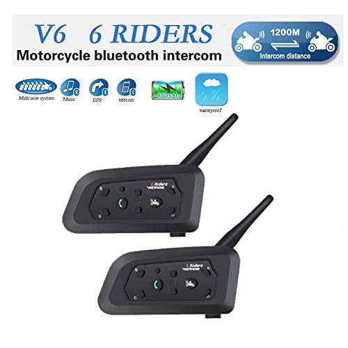 QSPORTPEAK V6 Motorrad Bluetooth Helm Intercom Interphone Sprechgarnitur, Vollduplex Motor