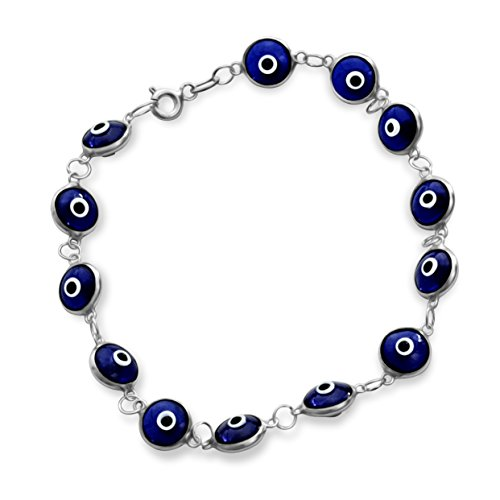 Damen Herren Mädchen Beads Armband ,Schutzes Bösen Blick aus 925 Sterlingsilber #1872 (Dunkel)