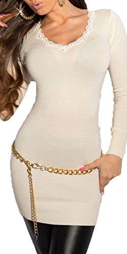 Koucla Femmes Mailles fines Long Pull Tricoté Chandail avec dentelle et Strass Son Mini robe Robe pull Robe Tricotée plusieurs couleurs Blanc