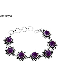 681927d74c Genuine Gemstone 925 Sterling Silver Overlay Handmade Fashion Bracelet  Jewelry