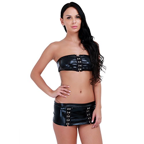YiZYiF Sexy Damen Dessous Set Top + Leder Rock Negligee Leder-Optik Wet Look Clubwear GoGo - Einheitsgröße