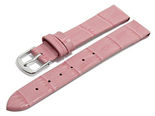 Meyhofer Uhrenarmband Pensacola 10mm rosa Leder Clip-Anstoß Alligator-Prägung ohne Naht MyHeklb187/10mm/rosa/clip/oN Leder Clips
