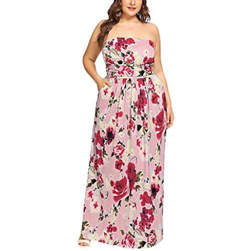 BHYDRY Womens Plus Size Urlaub Schulterfrei Langes Kleid Damen Sommer Print Maxi-Kleid