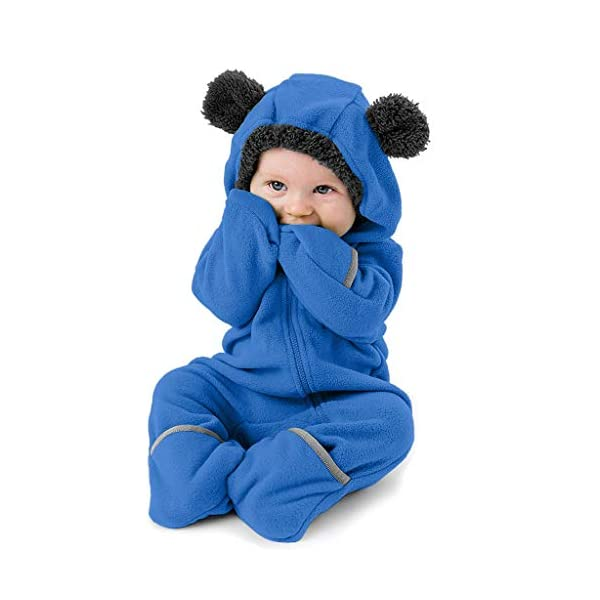 Mono Infantil Invierno Bebé Niñas Niños Sólidos Dibujos Animados Orejas Lindas Sudadera con Capucha Ropa de Mameluco… 1