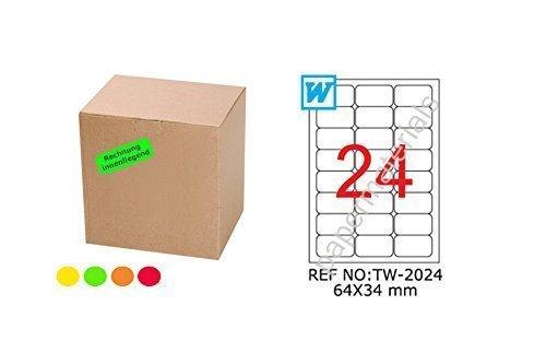 TANEX TW de 2024fluorescentes etiquetas Amarillo 64x 34mm-redondeada de 25Bl. A4