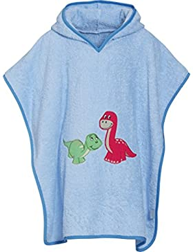Playshoes Jungen Bademantel Kinder Frottee-Poncho, Badeponcho Dino mit Kapuze