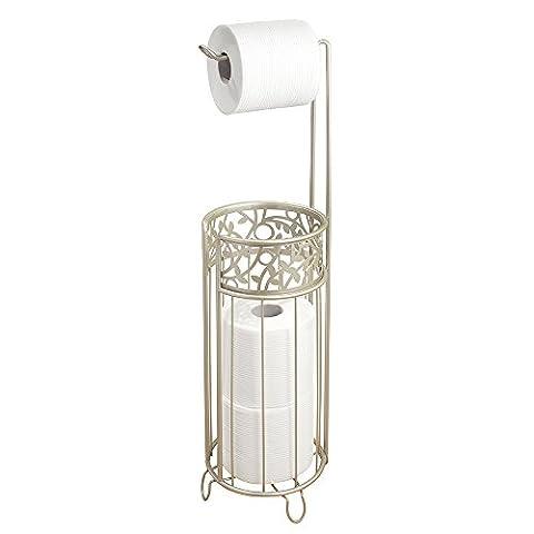 mDesign Toilettenpapierhalter stehend – Papierrollenhalter mit Reserverollen-Aufbewahrung – WC-Rollen Halter
