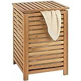 WENKO Panier à linge, Panier à linge bois avec sac à linge, Bois de noyer, 45x65x45 cm
