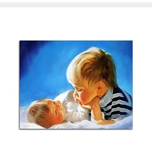 Waofe Netter Baby-Bruder, DerDurch Zahl Auf Leinwand Malen Durch Zahlen Für Sätze Einzigartiges Geschenk-Wohnzimmer-Wand-Kunst Ifjk-656529-With Frame Färbt