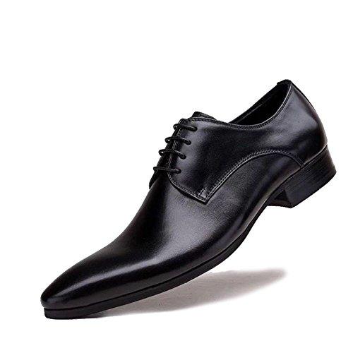 MERRYHE Spitz-Toe Derby Echtleder Mens Brogues Klassischen Stil Formale Schuhe Lace Up Glatt Zehen Für Abend Arbeit Party Business Hochzeit,Black1-42