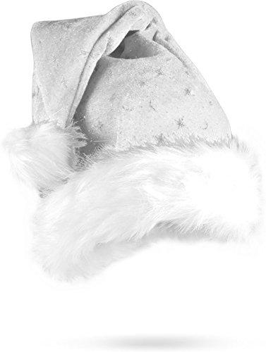 normani Weihnachtsmütze Nikolausmütze mit Pelzrand und Glitzer in -