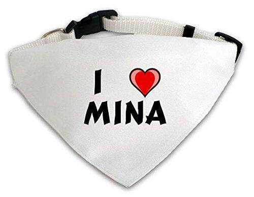 Personalisierter Weißer Hundschal mit Aufschrift Ich liebe Mina (Vorname/Zuname/Spitzname) (Kleidung Mina)