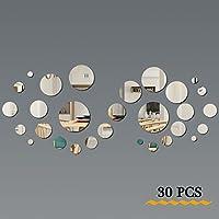 FRETOD Miroirs Muraux Rond 30PCS - 3D Miroir Autocollant Stickers avec Adhésif pour Chambre Salon Décoration d'intérieur