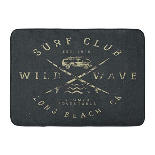 Bad Teppiche Outdoor/Indoor Fußmatte Surfing Tee in Vintage Gummi Surf Symbole Old Rv Auto Surfbretter und Sommer Wild Wave Club Hipster Patch Badezimmer Dekor Teppich Badematte ()