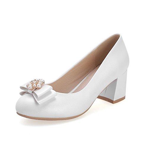 AgooLar Damen Ziehen Auf Rund Zehe Mittler Absatz Pu Leder Rein Pumps Schuhe Weiß