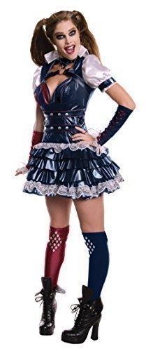 Damen Sexy Harley Quinn Batman Bösewicht Superheld Halloween Büchertag Party Kostüm Outfit UK 6-18 - Schwarz, 8-10