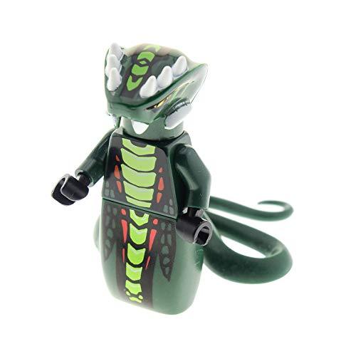 Bausteine gebraucht 1 x Lego System Figur Mann Ninjago Schlange Acidicus Torso dunkel grün Schlangen Kopf Schwanz für Set 9450 njo066