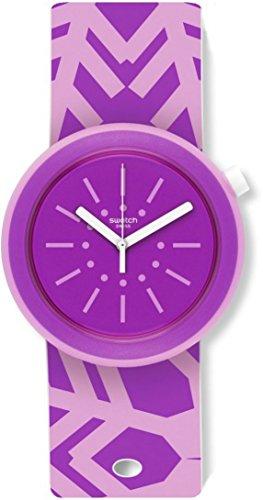 Swatch Damen Digital Quarz Uhr mit Silikon Armband PNP102