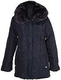 Italy Donna Windbreaker Damen Fell Kragen Kapuze Winter Jacke Parka Mantel  warm GEFÜTTERT 42 44 46 27a293827b