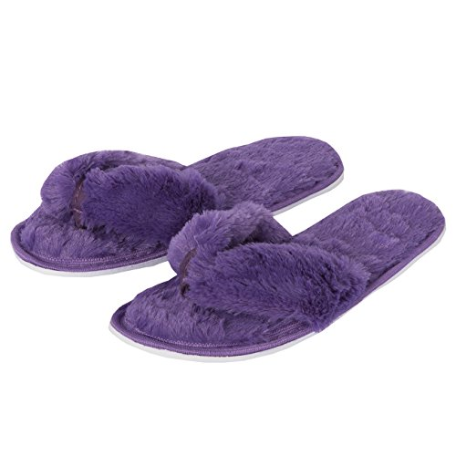 0473aeff6d0b Forever Dreaming Womens Open Toe Memory Foam Faux Fur Indoor Flip Flop  Thong Slippers Purple-Black 7 - Buy Online in Oman.