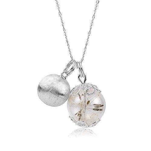 MadamLili 925 Silber Echte Pusteblumen Kugelkette 3