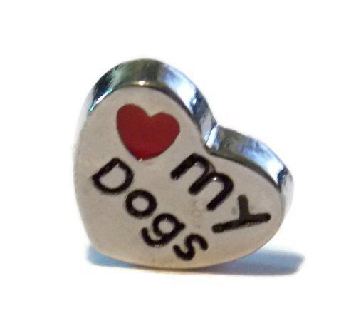 Old School Geekery Heart My Hunde Herzform Charme für schwimmende haardosen Marke Medaillon Charms-Hundeliebhaber Pet Inhaber Geschenk