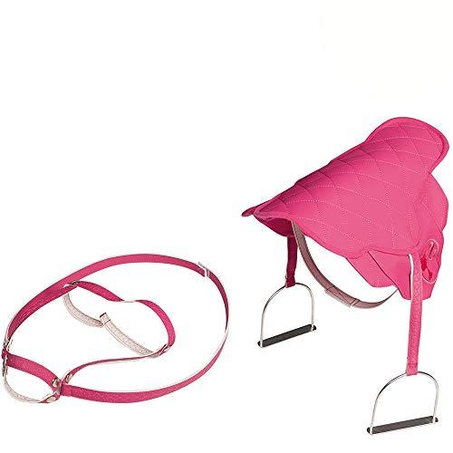 Sattel mit Zaumzeug und Steigbügeln für Plüschpferd Reitpferd Pferd Pink für Mädchen im Steppdesign Spielpferd - aus Polyester Pferdezubehör Spielzeugpferd Plüschpferd Pferdesattel Rosa große Pferde