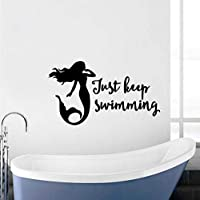 Cute Mermaid Wall Sticker Just Keep Swimming Quote Wall Decal Removable Vinyl Wall Poster Mermaid Window Stickers 74x42cm