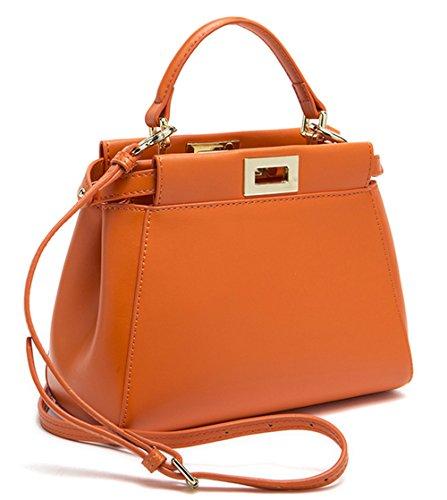 Xinmaoyuan Sacs à main pour Femme Sac à main cuir sac Messenger Sac Chaton Sac en bandoulière en cuir boucle Orange