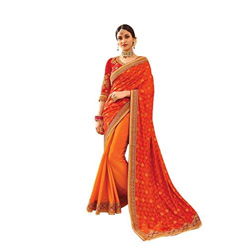 Craftsvilla Womens Silk and Jacquard Embellished Designer Orange Saree with blouse piece