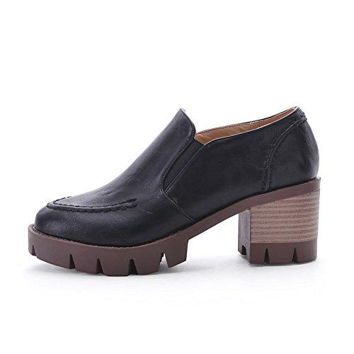 VogueZone009 Damen Rein Blend-Materialien Niedriger Absatz Rund Zehe Pumps Schuhe Schwarz