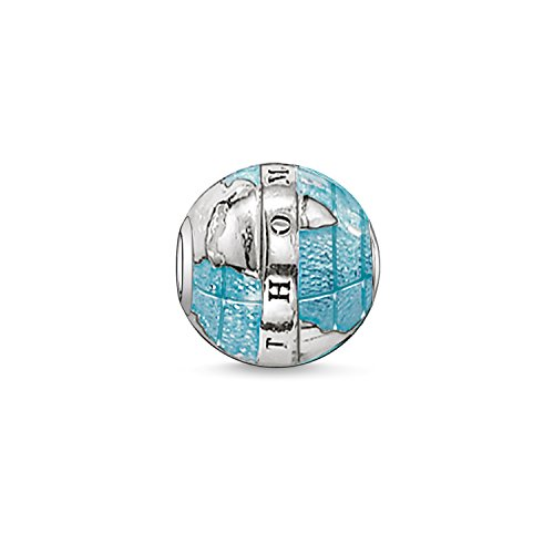Thomas Sabo Damen Herren-Bead Welt Karma Beads 925 Sterling Silber geschwärzt blau K0036-007-1 (Welt-anhänger-halskette)