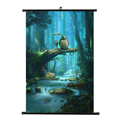 Sweet&rro17 Anime Rollbild/Kakemono Wallscroll Dekorative Wandbild Stoff Poster Hängendes Plakat(Mein Nachbar Totoro)
