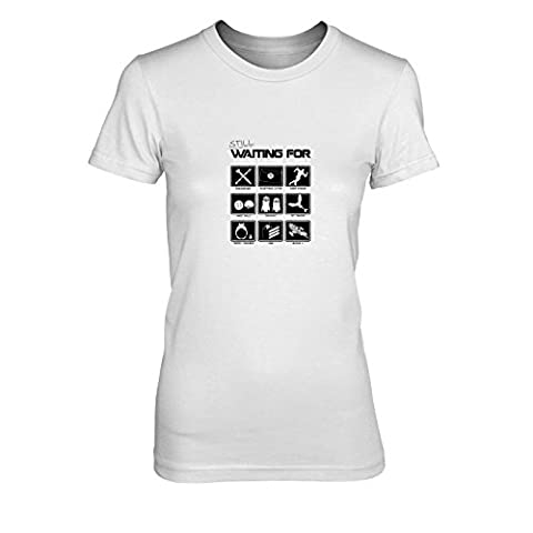 Still waiting for - Damen T-Shirt, Größe: XL, Farbe: weiß (Totoro Kostüm-ideen)